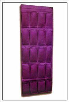Stoffwandbehang in lila mit 20 Aufbewahrungstaschen - 47 x 134 cm