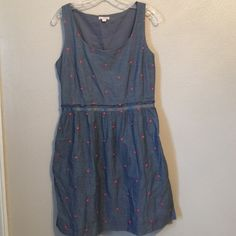 """Chambray Polka Dot Dress Adorable chambray dress with coral pink polka dots embroidered all over. Popped the tags and never wore it. Pockets. Side zipper. Retail $100 NWT make an offer. Bust 28 - 34"""" Waist 28 - 30"""" Length 34.5"""" GAP Dresses Mini"""