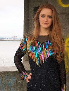 amazing. french vintage multicolor black sequin mini dress from dandeliondaydreamer on Etsy.