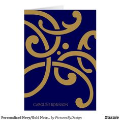 Personalized Navy/Gold Notes, Modern Design Card
