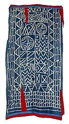 reist dyed indigo Bamileke Ndop Cloth (Cameroon) used by all the peoples of the Grasslands both as clothing and to demarcate royal ritual spaces (red pieces are velvet).