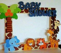 Photo booth frame zoo #animals #lion #elephant #babyshower #boy