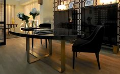 DOM edizioni - Pierre Dining Table with brushed steel legs, top in black lacquer - Dining Room