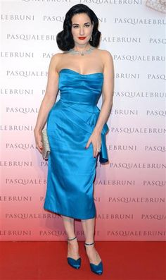 Dita Von Teese attends the Pasquale Bruni Secret Garden Cocktail Party in Milan on June 18, 2015.