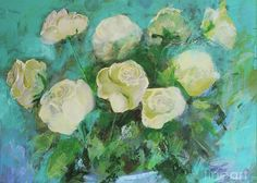 Rose Greeting Card featuring the painting Romantic Green Tea Roses By Robin Maria Pedrero by Robin Maria Pedrero