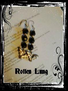 silver vampire pearl earrings
