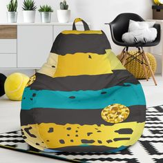 Luxury Neon Strips Bean Bag Chair – This is iT Original Bag Chairs, Bean Bag Chair, Beans, Relax, Just For You, Luxury, Cover, Interior, Decor