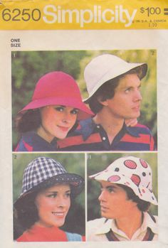 1974 Mens and Womens Hats Vintage Pattern by BuzzyVintage on Etsy, $6.00  For Sarah Jane's white hat in Robot