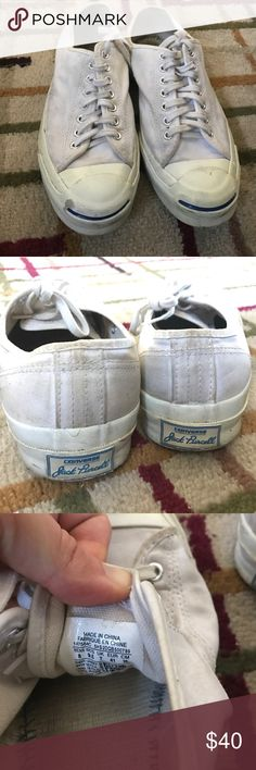 Jack Purcell converse lowtop White jack converse jack Purcell's. Missing the inside cushion lining, need a good cleaning to restore them to their white color but have that vintage converse look that's so sought after. Converse Shoes Sneakers