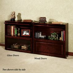 Aubrie Barrister Bookcase With Glass Doors Classic Cherry Glass