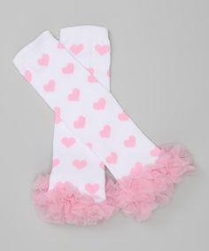 Look what I found on #zulily! Light Pink Heart Ruffle Leg Warmers #zulilyfinds