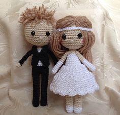 Inspiration - Bride and Groom crochet dolls