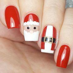 25 Magical Santa Nail Art Designs to Love Diy Christmas Nail Art, Xmas Nail Art, Xmas Nails, Christmas Nail Art Designs, Holiday Nails, Diy Nails, Cute Nails, Winter Christmas, Christmas Makeup