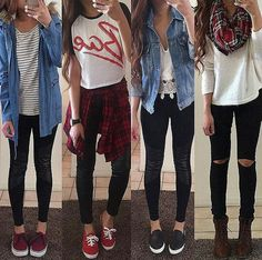 fall 2015 teen fashion outfits. denim, flannel, leggings. credit: instagram @outerfashionlish