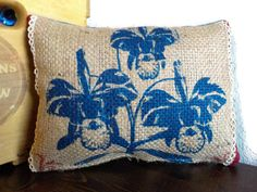 Burlap Pillow  Farmhouse Decor  Recycled Coffee by CreationsReNew