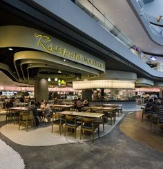 Rasapura Masters Food Court by Farm Architecture, Singapore Centre Commercial, Commercial Design, Commercial Interiors, Shopping Mall Interior, Retail Interior, Burger Bar, Mall Design, Retail Design, Cafe Restaurant