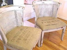 coffee burlap bag slipcovered chairs! Next project