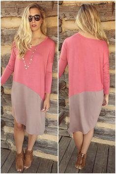 Sunrise To Sunset Rose & Tan Color Block Long Sleeve Dress With Hi-Low Hem