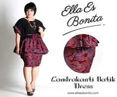 Candrakanti Batik Dress - This shirt and skirt features high quality batik cotton and twill cotton for tops and batik cotton for pencil skirt which specially designed for sophisticated curvy women originally made by Indonesian Designer & Local Brand: Ella Es Bonita. Available at www.ellaesbonita.com