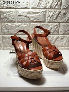 Ysl Saint Laurent woman wedges grainy leather high heels platform sandals Saint Laurent Shoes, Leather High Heels, Ysl, Clogs, Saints, Platform, Wedges, Sandals, Woman