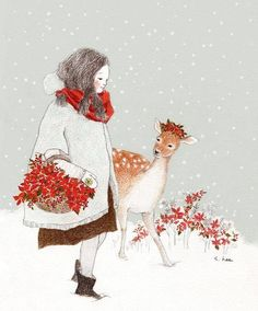 Christmas time by S Hee Art And Illustration, Christmas Illustration, Christmas Images, Christmas Art, Creation Art, Guache, Korean Artist, Whimsical Art, Beautiful Artwork