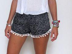 Women Black and White Pom Pom Short