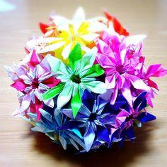 折り紙のマーガレットのくす玉*【origami】Kusudama of Margaret