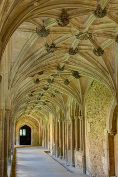Lacock Abbey, UK, used in some of the Harry Potter films  (Lacock Abbey in the village of Lacock, Wiltshire, England, was founded in the early 13th century by Ela, Countess of Salisbury, as a nunnery of the Augustinian order. Wikipedia)