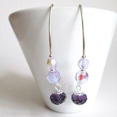 Brincos cristais roxos | prata