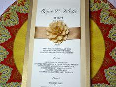 Wedding Menu Cards Embellished with The Rosetta Handmade Paper Flowers - Custom Colors via Etsy.