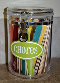 Chore stick idea WITH printables!!