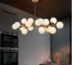 Modern-Iron-DNA-Molecular-16-Glass-Ball-Lamp-Shades-Ceiling-Lights-G4-LED-Bulbs