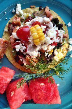 """Black Bean Salmon Tostada"" | @Sandy | Reluctant Entertainer #recipe #tacos #summer"