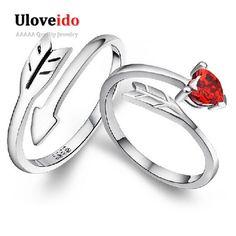 15% de descuento Promoción 2 Unids Nuevos 2016 Encantos Del Corazón Rojo Par anillos de plata plateó los anillos de bodas para los hombres y mujeres par uloveido Y080