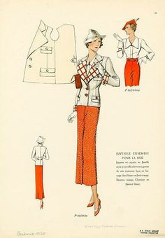 Snappy red and white separates, 1930s. #vintage #1930s #fashion_illustrations
