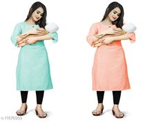 Checkout this latest Kurtis Product Name: *Women's Solid Cotton Maternity Kurtis and Feeding Kurtis* Fabric: Cotton Sleeve Length: Three-Quarter Sleeves Pattern: Self-Design Combo of: Combo of 5 Sizes: M (Bust Size: 38 in, Size Length: 42 in)  L (Bust Size: 40 in, Size Length: 42 in)  XL (Bust Size: 42 in, Size Length: 42 in)  XXL (Bust Size: 44 in, Size Length: 42 in)  Country of Origin: India Easy Returns Available In Case Of Any Issue   Catalog Rating: ★4 (271)  Catalog Name: Aagam Alluring Maternity and feeding Kurtis CatalogID_2255798 C74-SC1001 Code: 076-11878309-9081
