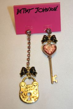 NEW NWT Betsey Johnson Valentines Day Heart Lock Key Bow Crystal Earrings $50 / $34.95  #BetseyJohnson #DropDangle