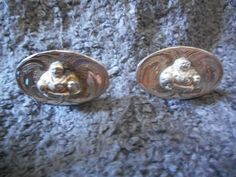 Vintage Silver Buddha Cufflinks  Cuff Links Marked by RickyBees