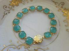 *Aqua Blue Mint Bracelet Gold Plated - Etsy laalee
