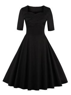 Vintage Sweetheart Neck Short Sleeve Pin Up Dress - Black Pin Up Vintage, Mode Vintage, 50s Vintage, Vintage Black, Half Sleeve Dresses, Pin Up Dresses, Party Dresses, Midi Dresses, Dresses Online