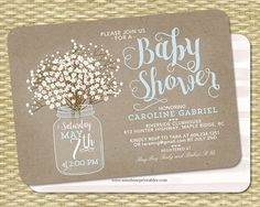This gender neutral baby shower invitation features digital kraft textured background and simple babys breath floral bouquet in mason jar along with a beautiful typography style. Lovely for ANY event. Wording can be customized however you like. Colors can be customized for an extra fee. Printable or printing available - add-on print listings located here: https://www.etsy.com/shop/SunshinePrintables?section_id=10965221&ref=shopsection_leftnav_10  NOTE: Wicker background is NOT part of the…