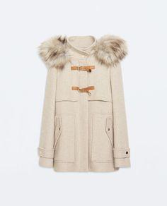 Image 5 of WOOL DUFFLE COAT WITH FUR HOOD from Zara
