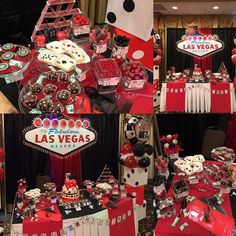 The dessert  table set up for a Casino themed 30th Birthday! Bom Bom's mini desserts cakepops themed decor And candy bar collaborated well with Cakes by Blanca and the party's themed balloons by Rachel. #casinotheme #bombom #30