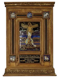 <b>ARTS & CRAFTS CLOISONNÉ ENAMEL ECUMENICAL DEVOTIONAL PANEL</b> <br /> EARLY 20TH CENTURY <br /> depicting Christ on the cross, with Buddha at the foot of the cross in a landscape, enclosed by Buddhist and Christian iconography, in a giltwood frame <br /> 58cm x 42cm