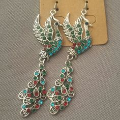 Beautiful peacock earrings Peacock earrings with colorful crystals, Tibetan silver, brand new never been worn Jewelry Earrings