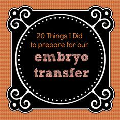 What I did to Prepare for our Embryo Transfer