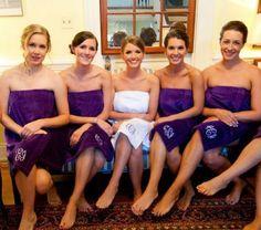 SET OF 5 Monogrammed Bath Wrap   Velour Bridesmaid by MisterandMrs, $164.75