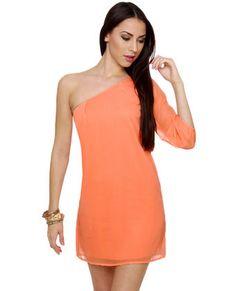 Cute One Shoulder Peach Dress  http://www.lulus.com/products/c-mon-get-happy-one-shoulder-peach-dress/47417.html