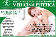 Maggio, giugno e luglio sono i mesi della Medicina Estetica alla Ecos Medica: LA PRIMA VISITA È GRATUITA. http://www.ecosmedica.it/ecosinfoprenotazioni/ecosinfoprenotazioni.php