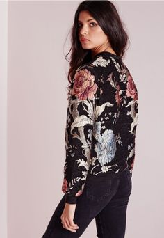Premium Embroidered Floral Bomber Jacket Black - Coats and Jackets - Bomber Jackets - Missguided
